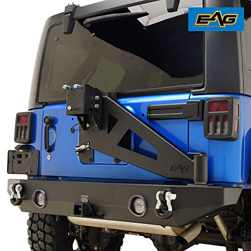- EAG Rear Bumper with Tire Carrier W/Linkage for 07-18 Jeep Wrangler JK