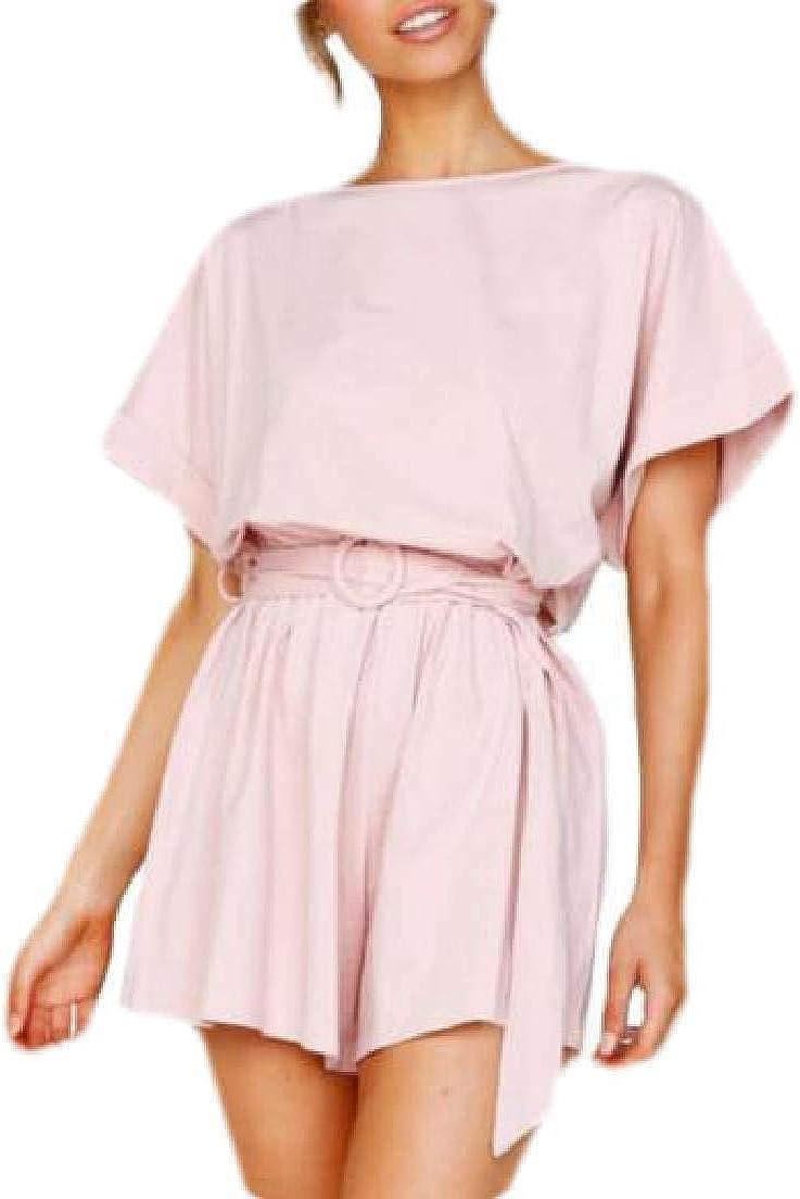 UUYUK Women Casual Short Sleeve Crewneck Pure Color Wide Leg Jumpsuit Romper