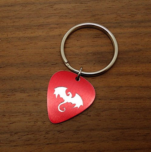 Silver Toned Dragon Key Ring or Necklace Hand Made From Guitar Picks