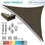Patio Paradise 10' x 10' x 14' Sun Shade Sail with 6 inch Hardware Kit, Brown Right Triangle Canopy Durable Shade Fabric Outdoor UV Shelter - 3 Year Warranty - Custom Size Available