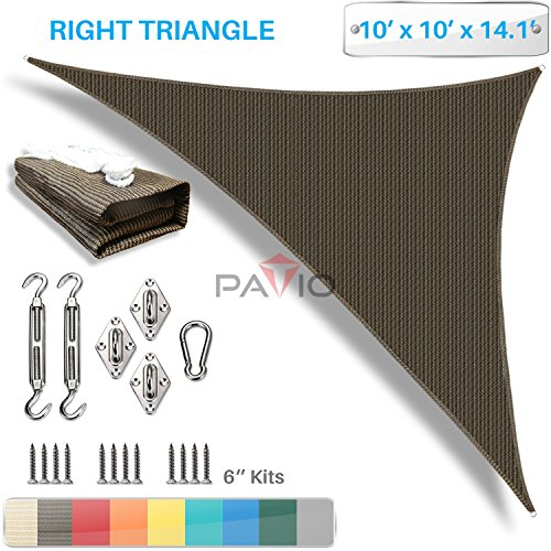 Patio Paradise 10' x 10' x 14' Sun Shade Sail with 6 inch Hardware Kit, Brown Right Triangle Canopy Durable Shade Fabric Outdoor UV Shelter - 3 Year Warranty - Custom ()