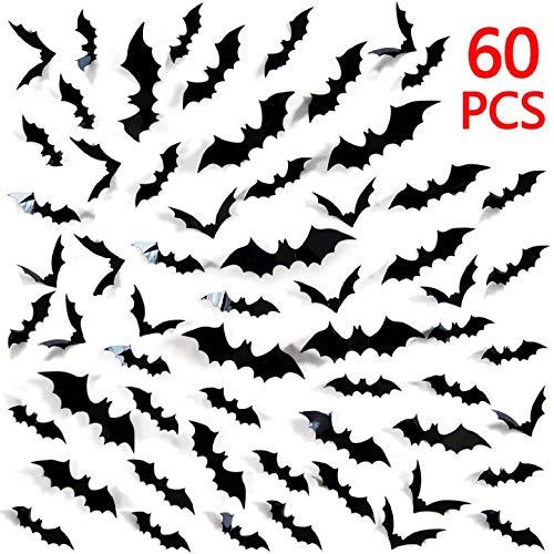Halloween Batman Art (SINKDA 60 Pieces Halloween 3D Bat Wall Sticker Decor Art Decorations DIY Halloween Party)