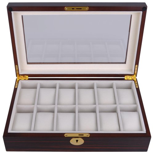 "Jewelers Wood - Ebony Black Matte Stain Wood Glass Flip Top 12 Watch Display Case 13""L Jewelry Box w/ Gold Hinge Lock Key"