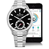 Alpina Horological Smartwatch Mens Fitness Watch - 44mm Black Face Swiss Quartz 2 Year Battery Life Running Watch - Stainless Steel Water Resistant Sleep Monitor Activity Tracker Watch AL-285BS5AQ6B
