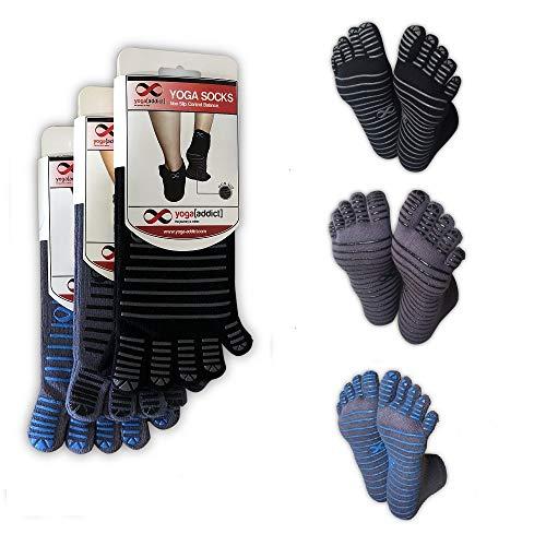 (YogaAddict Full Toe Socks with Grips, Yoga, Pilates, Barre, Dance, Anti Non Slip Skid, for Women & Men, (Black-Grey Lines, Grey-Black Lines, Grey-Blue Lines)-M/L)