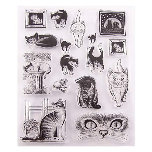 Mikilon Cat Theme Clear Stamps Sheets Transparent Silicone Seal for DIY Scrapbooking Photo Album Car Making Decoration (Cat)