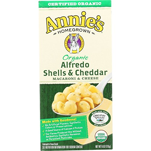 Annies Homegrown Macaroni and Cheese - Organic - Alfredo Shells and Cheddar - 6 oz - case of 12 - 95%+ Organic - - - - -