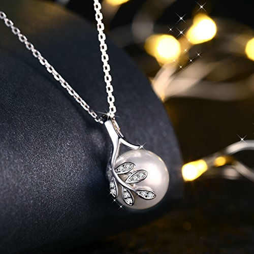J.Rosée The Tree of Love Fashion 925 Sterling Silver 10mm White Simulated Shell Pearl Pendant Necklace Jewelry Gifts by J.Rosée (Image #2)