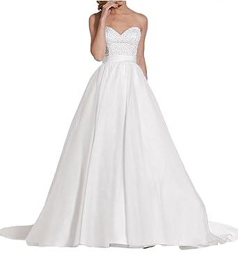 La Marie Braut Elegant Weiss Traegerlos Herzausschnitt Hochzeitskleider  Brautkleider brautmode Lang Prinzess Schleppe -32 Weiss 28461f5f92