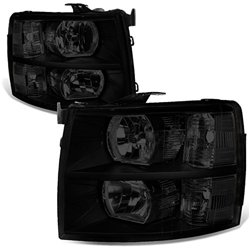 - For 07-14 Chevy Silverado Pair Black Housing Smoked Lens Clear Corner Headlight/Lamps