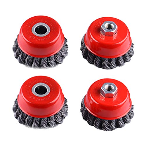 LIOOBO Wire Cup Brush Twist Stainless Steel Knotted Brush with Hole for Wheels Polished Derusting Tools 4pcs ()