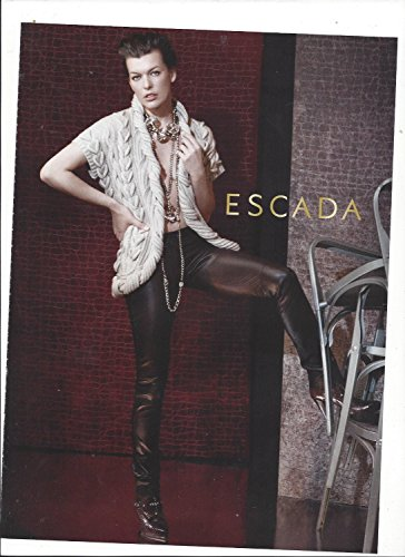 **PRINT AD** With Mila Jovovich In Leather Pants For Escada Products **PRINT AD** - Escada Leather