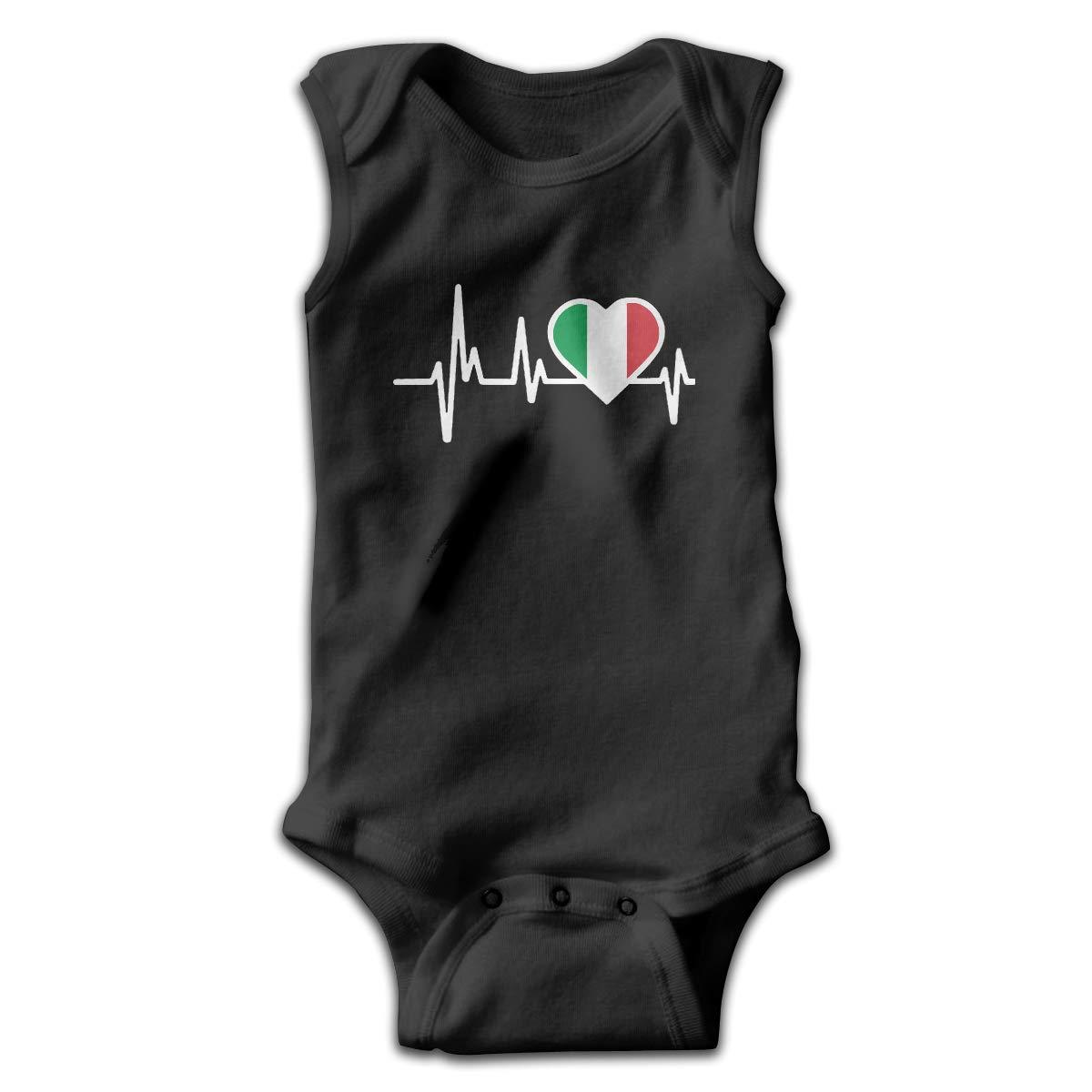 Newborn Italy Heartbeat Flag Sleeveless Baby Clothes Pajamas Sleepwear 100/% Cotton