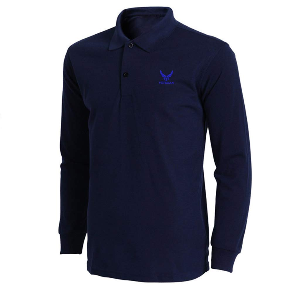 Mens US AIR Force Veteran Embroidered Long Sleeve Polo Shirts