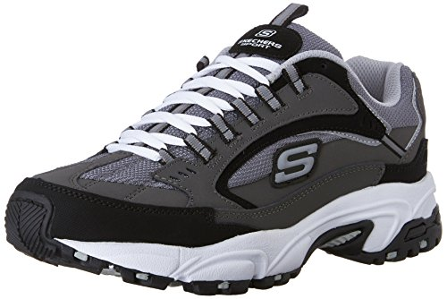 Skechers Sport Men's Stamina Nuovo Lace-Up Sneaker,Charcoal/Black,12 M US