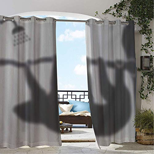 Linhomedecor Balcony Waterproof Curtains Sloth Shower Grey White Shadow 9 doorways Grommet Panel Curtains 72 by 72 inch
