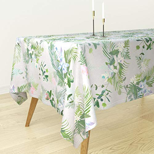 (Roostery Tropical Floral Tablecloth - Orchids Tuberose Jumbo Botanical Palms Modern Aloha Indian River Textiles by Kadyson - Cotton Sateen Tablecloth 90 x 90)