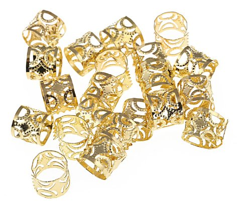Hip Hop Alloy Hollow adjustable plated Braiding DIY Accessory Dread lock Hair Beads Hair Braid Pins Rings Cuff Clips Tibetan Jewelry Decor (Alloy Lock Ring)