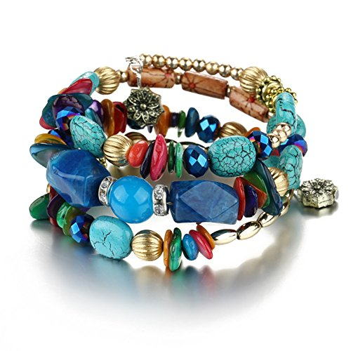 Boho Multilayer Natural Healing Gemstone Crystal Beads Charms Wrap Bracelet for Women (Black)