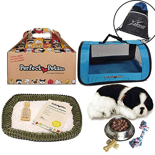 Perfect Petzzz Border Collie Breathing Pet, Blue Tote Plush Breathing Pet, Dog Food, Treats, Chew Toy Includes Myriads Drawstring Bag