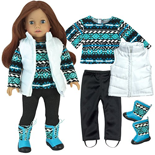 Complete 18 Inch Doll Outfit, Cool Print Long Sleeve Shirt, Black Leggings, White Quilted Vest with Matching Boots