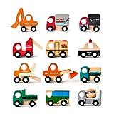FQStech Toy Wooden Wheels Mini car Vehicle 12 Pack: bus, postal Mail car, Pickup truck, power shovel, fire engine,police car,shovel car,cement mixer,Forklift,ambulances, Fuel tank car, garbage