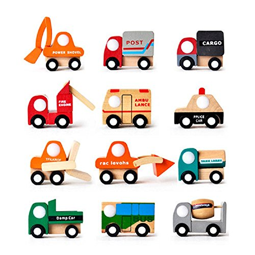 FQStech Toy Wooden Wheels Mini car Vehicle 12 Pack: bus, postal Mail car, Pickup truck, power shovel, fire engine,police car,shovel car,cement mixer,Forklift,ambulances, Fuel tank car, garbage (Truck Wood Garbage)
