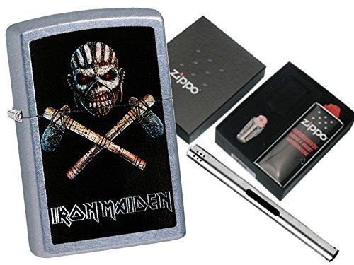 Zippo Iron Maiden trooper with Zippo gift set and L.B chrome lighter Zippo; L.B