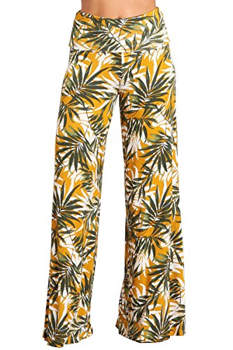 Green Mustard - HEYHUN Womens Printed Tie Dye Solid Wide Leg Bottom Boho Hippie Lounge Palazzo Pants - Green Mustard - Medium