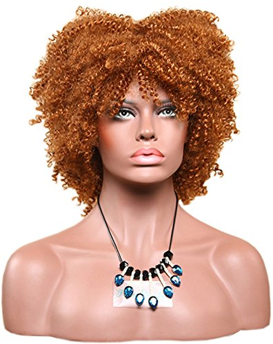 Big Curly Hair Costumes (Afro Girls Short Small Jerry Curly Wig Center Parting Daily Use Big Thick Cosplay Wig Hair (Brass Gold))