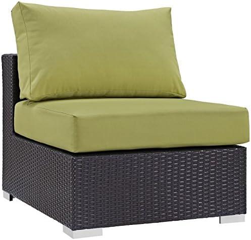 Modway Convene Wicker Rattan Outdoor Patio Sectional Sofa Armless Chair in Espresso Peridot