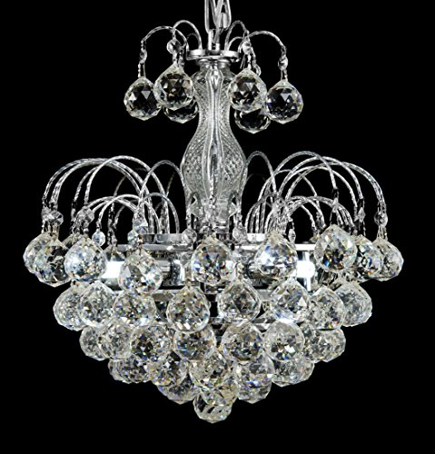 New Galaxy Lighting Chrome Finish European-Style 3-Light Chandelier with Crystal Balls Pendant Hanging Ceiling Light (New Style Light)