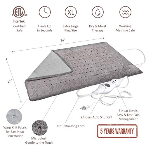 """XL Heating Electric Heating for Moist and Dry Therapy - Pain Relief at - 12"""" x 24"""", GENIANI"""