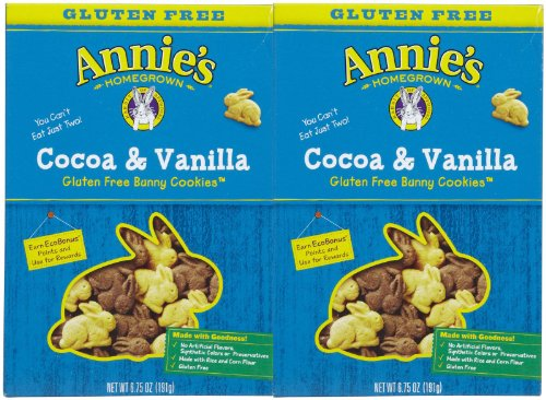 2 Savers Package:Annie's Gluten Free Cocoa & Vanilla Bunny Cookies (12x6.75Oz) by Annie's Homegrown