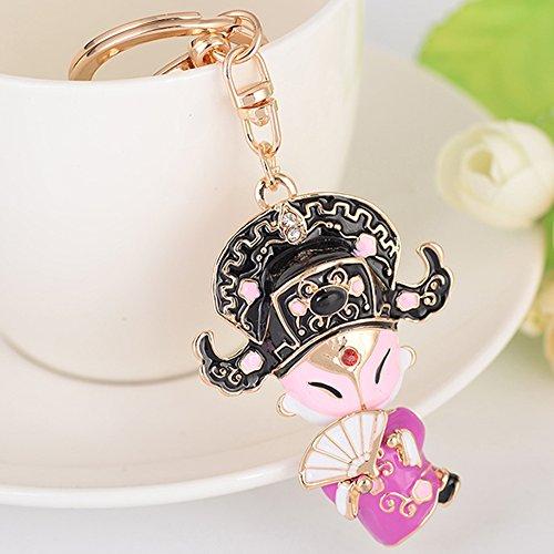 Cute Kawaii Rhinestone Chinese Style Drama Prince Shape Auto Key Ring Hooks Keychain for Women Purse Bag Charms Ornaments (Tiffany Tiffany Style Key Ring)