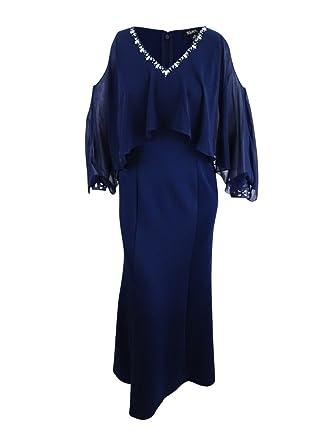 50dcd88c435f8 SLNY SL Fashions Women s Embellished Cold-Shoulder Capelet Gown (6 ...