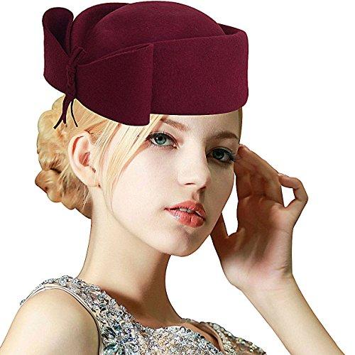 Lawliet Ladies Teardrop Fancy Wool Fascinator Cocktail Pillbox Hat Formal Racing A253 (Wine)