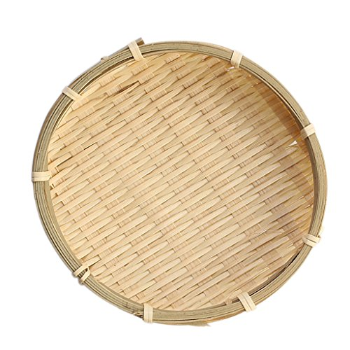 (Baoblaze 2 Sizes Bamboo Colander Bamboo Sieve Chinese Traditional Bamboo Plate - Wooden color, 16×2cm)