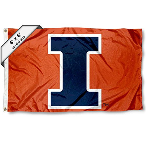 (College Flags and Banners Co. Illinois Fighting Illini 4'x6' Block I)