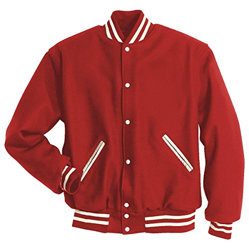 (Holloway Letterman Jacket, Scarlet/White, Small )