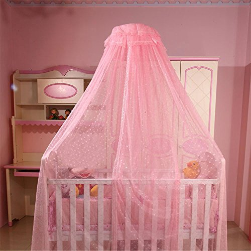 RuiHome Baby Crib Bed Canopy Dome Mosquito Netting with Clip-on Stand, Pink