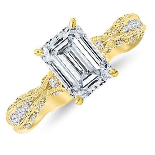 Yellow Gold Designer Eternity Channel Set Diamond Engagement Ring With Milgrain with a 0.52 Carat GIA Certified Emerald Cut F Color SI1 Clarity Center Stone