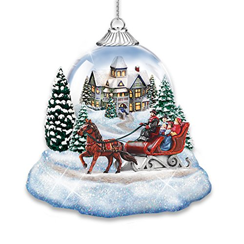 Thomas Kinkade Market First Joy To The World Lighted Holiday Ornaments Set Of 2 By The Bradford