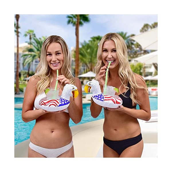 GoFloats Inflatable Pool Drink Holders (3 Pack) Designed in the US - Huge Selection from Unicorn, Flamingo, Palm and… 8