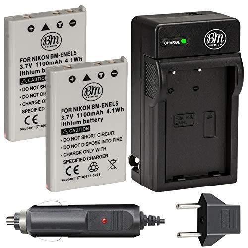 Big Mike #39;s BM Premium EN EL5 Batteries and Battery Charger Kit for Nikon Coolpix P80 P90 P100 P500 P510 P520 P530 Digital Camera  Pack of 2