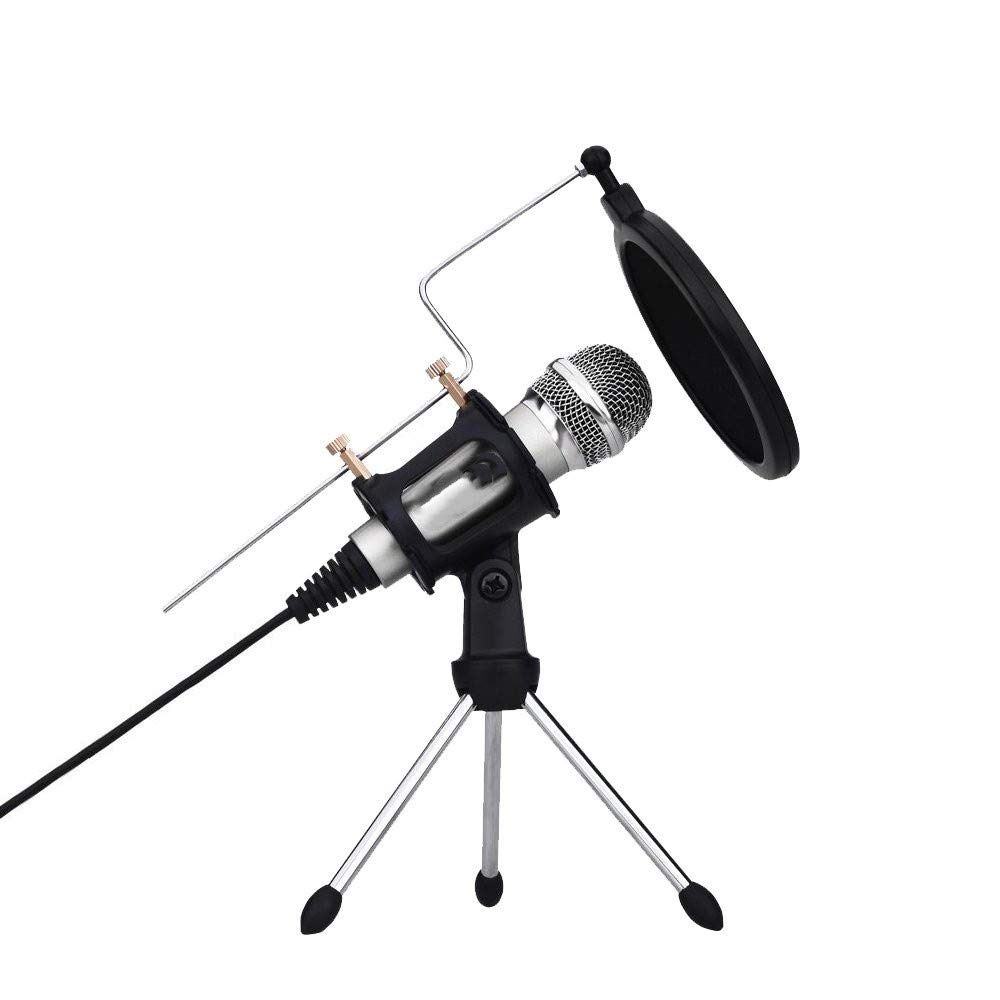 YSINOBEAR Professional Condenser Microphone, Plug &Play Home Studio Microphones for iPhone Android Recording, PC, Computer, Podcasting, Mini Desktop MIC Stand Dual-Layer Acoustic Filter (M3-Silver)