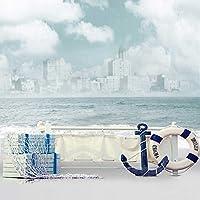 5x7ft Vinyl Nautical Anchor Sailor Lifebuoy Life Ring Paddle Photography Studio Backdrop Background
