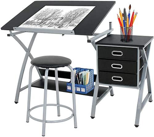 Homgarden Adjustable Drawing Desk Drafting Table Folding Art Craft Table Station W Stool And 3 Storage Drawers Kitchen Dining