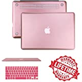 "Rose Gold Rubberized Case Keyboard Cover Compatible MacBook Air 11""(A1465/A1370),IC ICLOVER Ultra Slim Light Weight Matte Hard Plastic Protective Case Cover & Keyboard Cover Shock Water resisten"