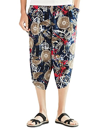 - INVACHI Mens Casual Elastic Waist Linen Capri Wide Leg Baggy Harem Pants Trousers